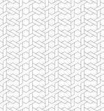 与线和织法s的黑白几何无缝的样式 免版税库存照片