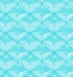 与线性心脏的绿松石无缝的样式 装饰网纹理 免版税库存照片
