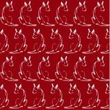 与线狗的无缝的样式在红色背景 库存照片