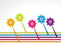与线的五颜六色的花 免版税图库摄影