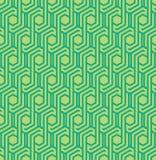 与线的Seamles几何在绿色的样式和六角形-导航eps8 免版税图库摄影
