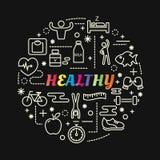 与线被设置的象的健康五颜六色的梯度 图库摄影