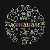 与线被设置的象的农业五颜六色的梯度 免版税库存照片