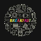 与线被设置的象的早餐五颜六色的梯度 库存照片