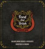 与线象的餐馆食物菜单葡萄酒印刷设计 免版税库存图片