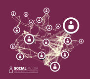 与线连接的小点的社会网络 皇族释放例证
