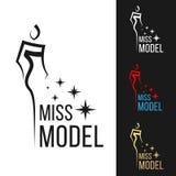 与线锋利的妇女现代样式的小姐式样商标标志和星传染媒介艺术设计 皇族释放例证