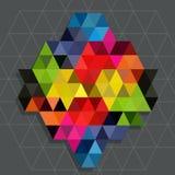 与线水位标记背景的彩虹三角 库存图片