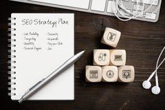 与组分的SEO战略成功的行销的 免版税库存图片