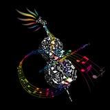 与组成的音乐要素的五颜六色的大提琴 免版税库存照片