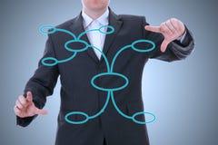 与组织系统图的生意人 库存照片