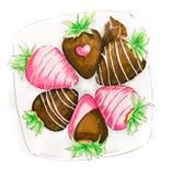 与结冰的新鲜的草莓在板材isolatedon白色背景手拉的例证 库存例证