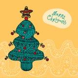 与结构树的圣诞卡 免版税库存照片