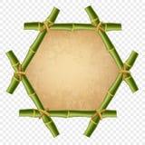与绳索、老纸或者破旧的帆布的六角绿色竹棍子边界 库存例证