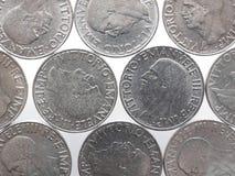 与维托里奥Emanuele III国王的老意大利里拉被隔绝在白色 免版税库存照片