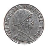 与维托里奥Emanuele III国王的老阿尔巴尼亚阿尔巴尼亚的货币单位被隔绝在白色 免版税库存图片