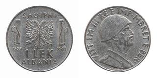 与维托里奥Emanuele III国王的老阿尔巴尼亚阿尔巴尼亚的货币单位被隔绝在白色 免版税库存照片