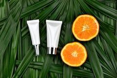 与维生素C萃取物,有新橙色切片的化妆吸管瓶容器的化妆用品skincare 库存照片