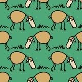 与绵羊的无缝的样式在草甸 滑稽的羊羔 eps10开花橙色模式缝制的rac ric缝的镶边修整向量墙纸黄色 库存例证
