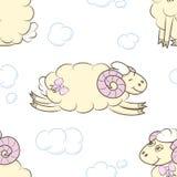 与绵羊的无缝的样式背景 免版税库存图片