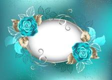 与绿松石玫瑰的卵形横幅 免版税图库摄影