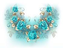 与绿松石玫瑰的对称构成 向量例证