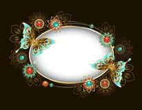与绿松石蝴蝶的卵形横幅 免版税库存照片