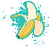 与绿松石飞溅,传染媒介例证的简单的质朴的被剥皮的香蕉 库存例证