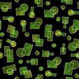 与绿色几何对象的黑背景 与铅笔的无缝的图画 免版税库存图片