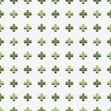 与绿色加号的无缝的传染媒介样式 库存图片