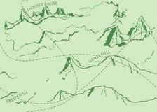 与绿色历史的寓言地图的年迈的幻想葡萄酒样式 免版税图库摄影