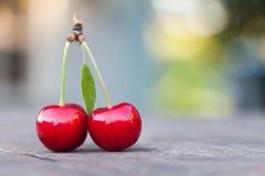 与绿色叶子的两2个红色樱桃莓果 成熟果子宏观视图照片 选择聚焦,浅景深 库存照片