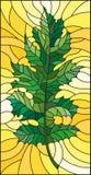 与绿色叶子的彩色玻璃例证在黄色背景 免版税库存图片