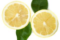 与绿色叶子的新鲜的黄色柠檬在白色背景 免版税库存图片