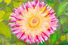 与绿色叶子的桃红色花。 水彩。 图库摄影