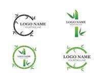 与绿色叶子的竹子您的商标象传染媒介的 库存例证