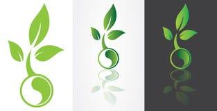 与绿色叶子的Ying杨象征主义 免版税库存图片