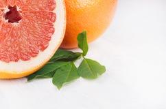 与绿色叶子,拷贝空间的水多的新圆的切片粉红色葡萄柚宏指令 免版税库存图片