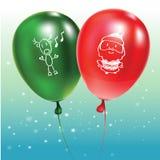 与绿色和红色气球的欢乐背景有乱画的 向量例证