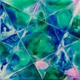 与绿色和蓝色的方形的水彩与星状线 图库摄影