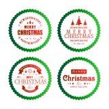 与绿色圈子的圣诞节印刷术 向量例证