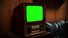 与绿色屏幕的老木电视 乌贼属口气 股票录像