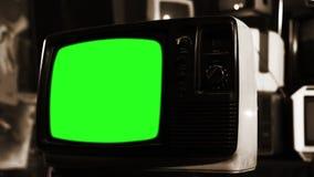 与绿色屏幕的葡萄酒80S电视 乌贼属口气 放大 股票视频