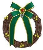 与绿色弓的节假日花圈 免版税图库摄影