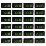 与绿色数字的数字钟例证 库存照片