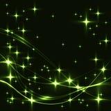 与绿色星和波浪的黑暗的背景 免版税图库摄影