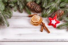 与绿色树、锥体、手工制造毛毡装饰、桔子和桂香的圣诞节横幅在白色木背景 空的空间fo 库存照片
