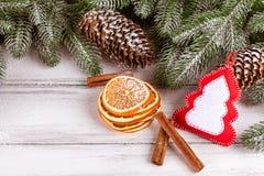 与绿色树、锥体、手工制造毛毡装饰、桔子和桂香的圣诞节横幅在白色木背景 空的空间fo 免版税库存照片