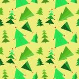 与绿色树的无缝的圣诞节样式装饰了诗歌选,五彩纸屑 向量例证