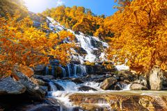 与绿色树的Mae Ya瀑布和蓝天backgroundat土井Inthanon国家公园,其中一著名瀑布 免版税库存图片
